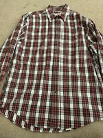 Eddie Bauer mens small red cotton button down collared plaid flannel