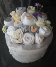 Unisex Neutral Bright Nappy Cake Clothing Bouquet Baby Shower Gift Blanket Sock