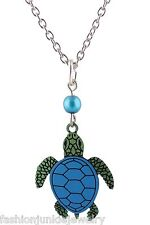 Sea Turtle Necklace - Hand Painted Etched Brass Turtles Tortoise Charm Jewelry