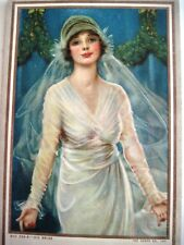 1917 June Advertising Calendar/Blotter w/ Lovely Colored Picture of Bride  *
