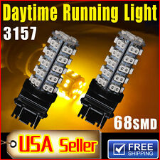 2x Amber/Yellow 3157 3156 68-SMD LED Turn Signal Sider Marker Parking Light Bulb