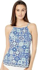 24th & Ocean 170461 Womens High Neck Tankini Swim Top Navy Mosaic Size Medium