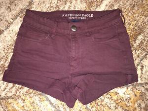 American Eagle Outfitters Purple Super Stretch Hi-Rise Shortie Jean Shorts sz 4