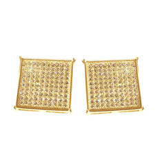 14k Yellow Gold Finish Real Silver Studs Mens Square Simu Diamond Earrings