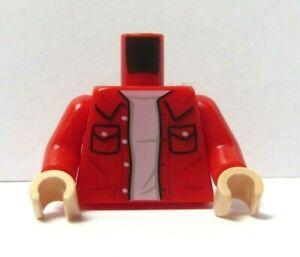 Lego 1 Flesh Minifigure Body Torso Red Jacket Shirt Collar Pockets Joey