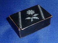 Rare Antique Late Georgian Lacquered & Inlaid Papier Mache Snuff Box