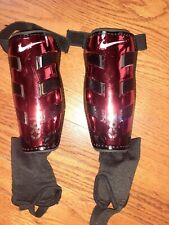 """*Nike* T90 Soccer Shin Guards Black & Red Youth M Fits 5'3"""" - 5'7"""" Euc with bag"""