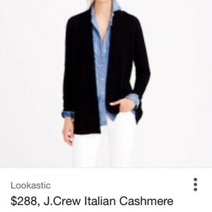 NWT J.CREW COLLECTION Italian cashmere OPEN cardigan sweater BLACK S $228