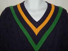 GAP Sweater M Varsity Tennis VTG 90s Pullover V Neck Navy Blue Cableknit Mens M3