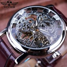 Winner Royal Carving Skeleton Brown Leather Automatic Mechanical Men Brand Watch