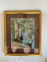 Vintage Crewel Needlepoint Finished Framed Mid Century Forest Lake Stream RiverV