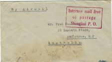 China Shanghai 1940s Internee mail free red handstamp cover to Australia