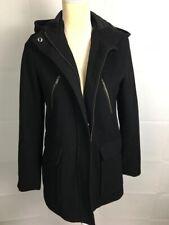 Merona Women Black Wool Blend Winter Coat Jacket Sz Small Hooded Gr8 Condition