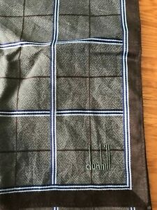 ALFRED DUNHILL Blue & Brown Geometric Cotton Pocket Square Handkerchief Hanky