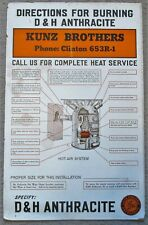 D&H Delaware & Hudson Railroad Anthracite Coal Furnace Instruction Sign