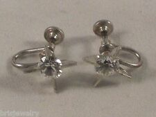 Vintage CT Sterling Silver Star Shape Earrings with Cubic Zirconia Screw Back
