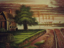 Campagna Cascina grande dipinto a olio su tela paesaggio moderno Arte Tree 20x24