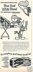 1959 Blue Seal White Bread Woody Woodpecker Cartoon Print Ad