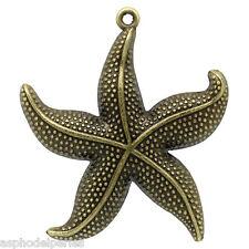 1 breloques étoile de mer couleur bronze 5 x 4,3 cm
