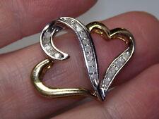 STERLING SILVER 925 ESTATE AFFINITY DIAMONDS 2 TONE .24 CARAT HEART PENDANT
