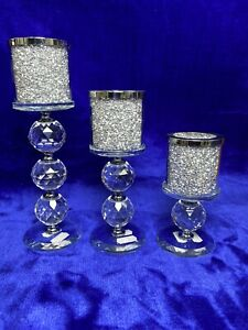 Silver Crushed Diamond Candle Holders Set Of 3, Home Living Room Decor, Diamante