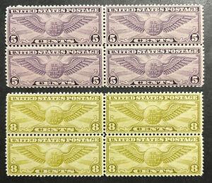TDStamps: US Airmail Stamps Scott#C16 Mint 3NH 1LH OG #C17 Mint NH OG Block of 4