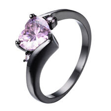 Heart Shaped Sapphire With Zirconia Black Gold Filled 925 Silver Women's Rings