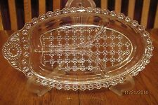Vintage Clear Glass Divided Hazel Atlas Jewel Relish Dish - Beaded Daisy Design