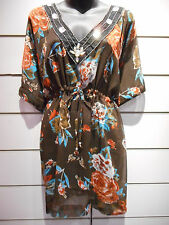 Top Fit 1X 2X 3X Plus Brown Orange Sequin Long Tunic Caftan Batwing Sheer BV118
