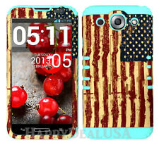 KoolKase Hybrid Silicone Cover Case for LG Optimus G Pro E980 - American Flag