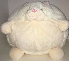 American Mills Kitty the Cat Large round Plush ball white cream pink ears nose