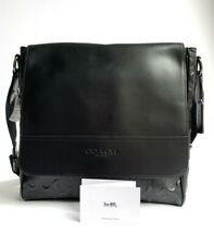 Coach * Men's Bag F73340 QB/BK Houston Messenger Sig Crossgrain Black