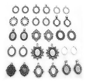 30 (15 Pairs) Antiqued Silvertone 18mm x 13mm CAMEO PENDANTS Frames Settings Lot