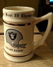 1981 Oakland Raiders Ceramic Porcelain Super Bowl Xv Champions Mug Rare