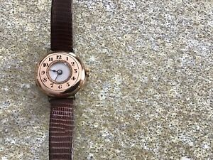 ROLEX VINTAGE HALF HUNTER TRENCH WATCH / 375 Gold