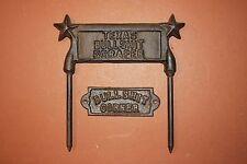 (2) Texas Mancave Bullshit Corner Sign, BS Boot Scraper,Cast Iron Bullshit Decor