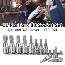 "11 Pcs 3/8"" 1/4"" Driver Tamper Proof Torx Star Bit Socket Kit Tool Set With Rail"