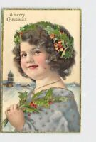 PPC POSTCARD MERRY CHRISTMAS LITTLE GIRL WITH HOLLY GOLD EMBOSSED