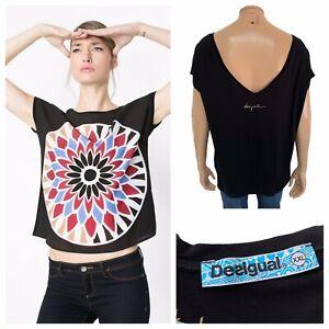 DESIGUAL Dolores Black T-Shirt Size XXL Floral Print Deep V Back