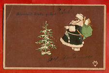 ESTONIA SANTA CLAUS BLACK SUIT VINTAGE EMBOSSED POSTCARD 207
