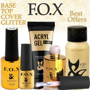 FOX BASE / TOP Rubber, No-Wipe, Cover, Glitter, Opal Holographic GEL Nail Polish