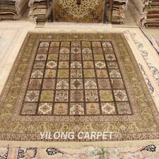 Yilong 8'x10' Hand Knotted Silk Carpet Four Season Oriental Area Rug 223B