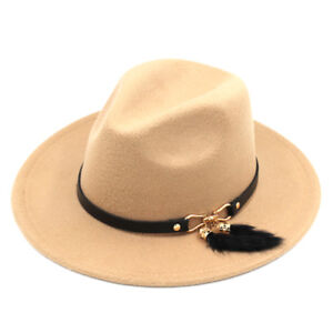 Women Lady Wool Blend Panama Hats Wide Brim Fedora Cap Feather Tail Leather Band
