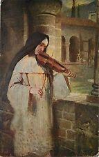 1907-15 Print Postcard; Nun Playing a Violin Ave Maria, by H Kaulbach, Religious