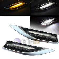 Universal Silver White/Amber Dual-Color LED Side Marker Blinker Courtesy Lights