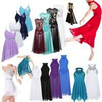 Girls Kids Lyrical Ballet Dress Long Maxi Dress Dance Wear Leotard Party Costume