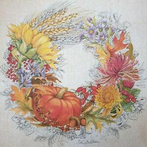 4 Lunch Paper Napkins Serviettes Decoupage Napkins Autumn Wreath Pumpkin