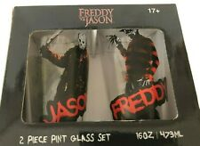 Freddy vs. Jason Pint Glass Set New In Box 16oz Warner Brothers Set of 2 Gift