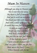 Mum In Heaven Memorial Graveside Poem Card & Free Ground Stake F143