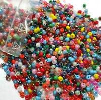 100g Rocailles Glas Perlen 4mm Rund MIX Mehrfarbig Opak Silbereinzug Z13#100g